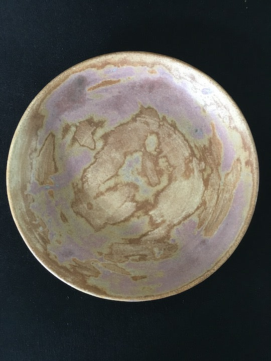 Handmade Japanese ceramic plate in matt and rose gold, copper green tones at zenbu home