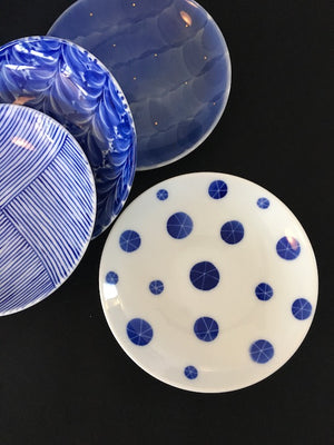 Sweet blue and white ceramic plate set from Imari in Kyushu Japan