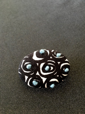 Stitches in Swirls brooch designed and handmade in Kyoto Japan