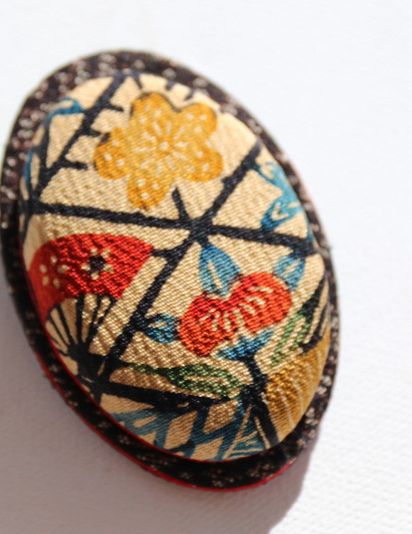 Pretty handmade Japanese brooch in vintage kimono fabric with fans and flowers