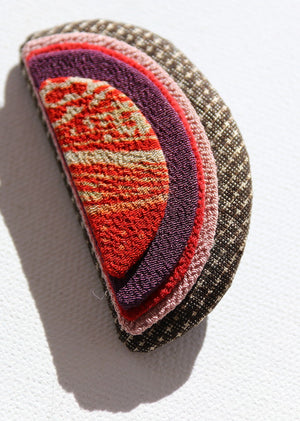 Striking vintage kimono fabric moon brooch from Kyoto