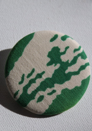Green and cream hand-dyed Japanese fabric brooch handcrafted in Tokyo