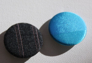 Striking badge duo in luminous blue and handsome grey vintage kimono fabric