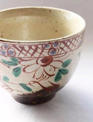 Gorgeous ceramic chawan tea bowl from Japan with painted floral glaze