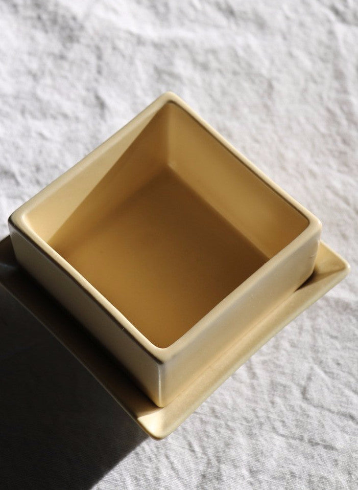 Nifty Sand coloured square dish and plate set from Japan