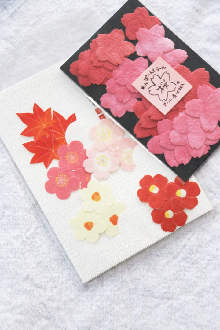 pretty pink blossoms and maple leaf crafting stickers and envelope seals from Japan