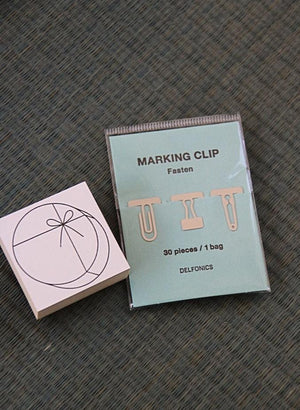 Japanese rubber gift tag stamp and cute paperclips for giftwrapping