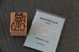 Japanese Maneki Neko Cat Stamp and Stationery clip set