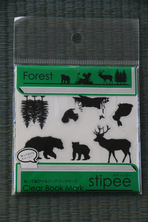 Zenbu Home's quirky stationery trio from Japan  - nori bookmark, animals of the forest clear markers and smiley face round paperclips!