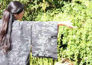 Zenbu Home 'Gindera Yama' Silver Trees Black Silk Kimono Elegant Traditional Japanese Fashion Design Buy