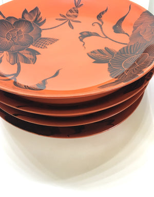 Antique Japanese red and black lacquerware plates from Zenbu Home