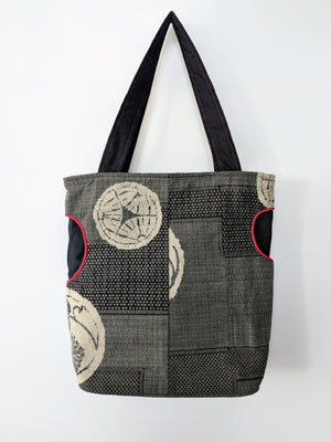 Stunning Japanese crest Shiga Tote Bag from Zenbu Home in charcoal and red