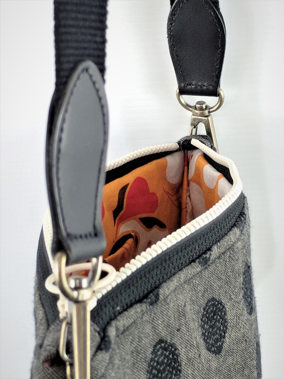 Handmade Japanese Dotty Shoulder bag in black and grey exterior with bright interior at Zenbu Home