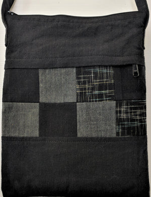 Japanese Two sided, handmade black patchwork shoulder bag at Zenbu Home