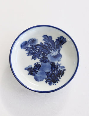 Zenbu Home 'Kabu' antique Edo Meiji turnip chrysanthemum flowers blue white plate home wares Japan design buy