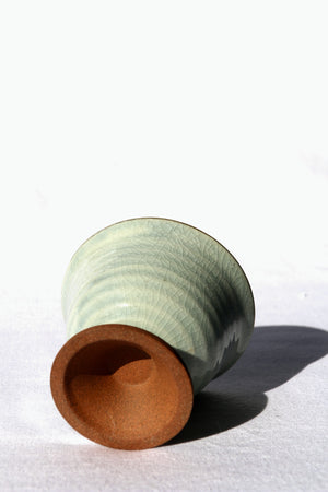 Zenbu Home 'Bikkuri' Sake Cup Kyoto ceramic bajouhai green crackle glaze Japanese Design Buy