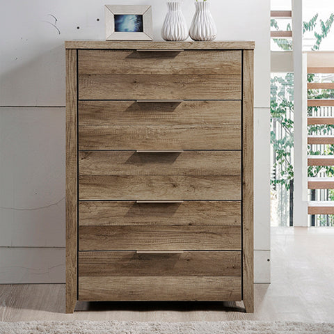 Alek 5 Drawer Tallboy Oak