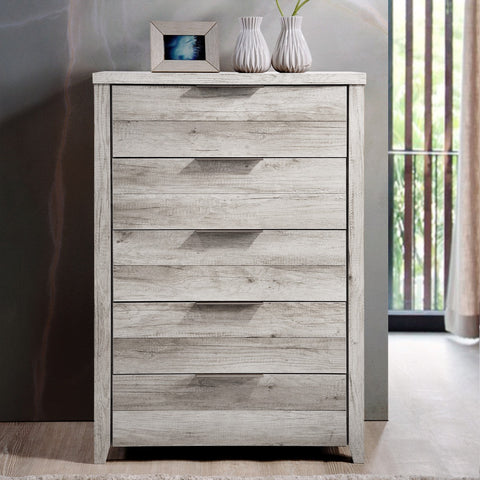 Alek 5 Drawer Tallboy White Ash