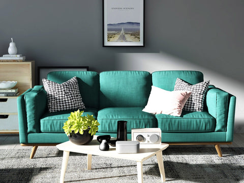 Asha 3 Seater Sofa  Teal Linen