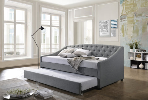 Olivia Diamond Tufted Daybed with Trundle Grey Linen