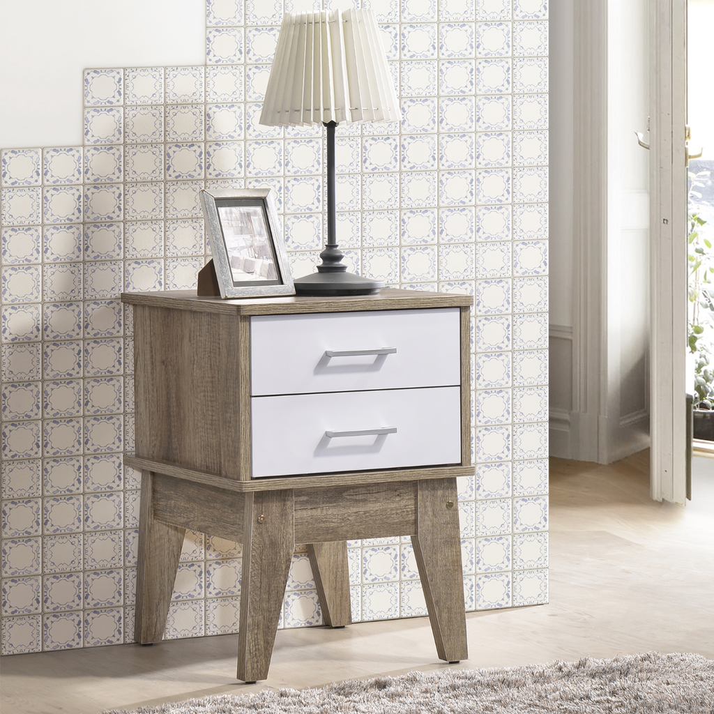 Nordic Bedside Table  White and Oak
