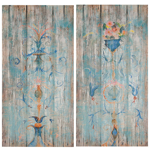 Set of 2 Muted Parisian Wood Wall Art