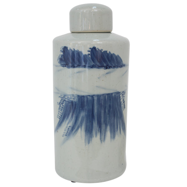 Ling Lidded Jar Medium Blue and White