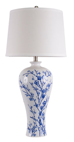 Cherry Blossom Table Lamp (Blue / White) - FREE SHIPPING - Darkhorse Creations