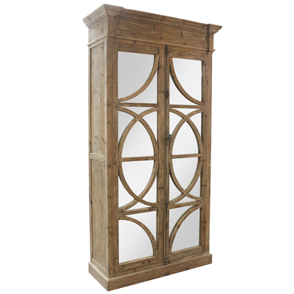 Abigail Armoire Cabinet Wood and Mirror