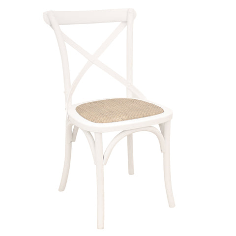 2x Rustic Oak Cross Back Rattan Chairs White