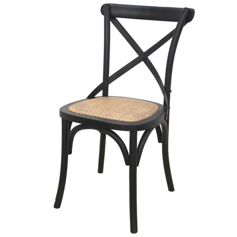 Rustic Oak Cross Back Rattan Chairs Black