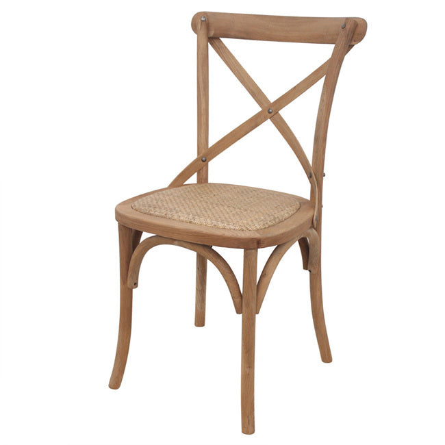 Rustic Oak Cross Back Rattan Chairs Natural
