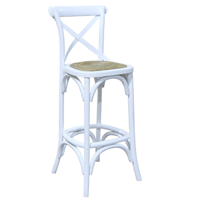 Rustic French Cross Back Rattan Bar Stool White