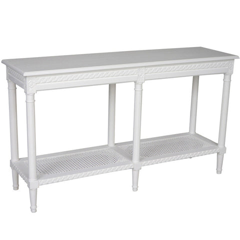 Johanna Console Table (White / Rattan) - Free Shipping - Darkhorse Creations
