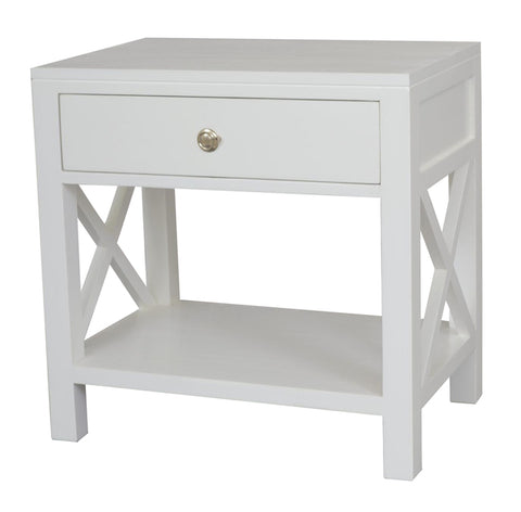 Catalina Crossed White BedsideandSide Table