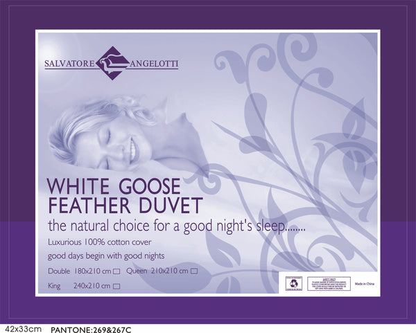 Queen Quilt - 100% White Goose Feather