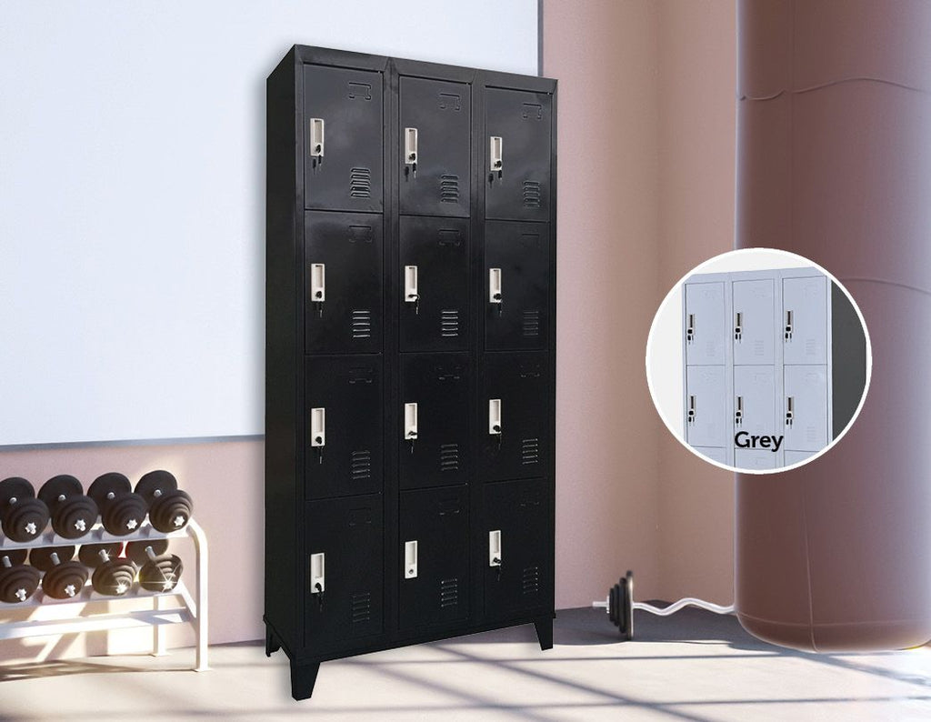12 Door Locker - OfficeandGym - Black