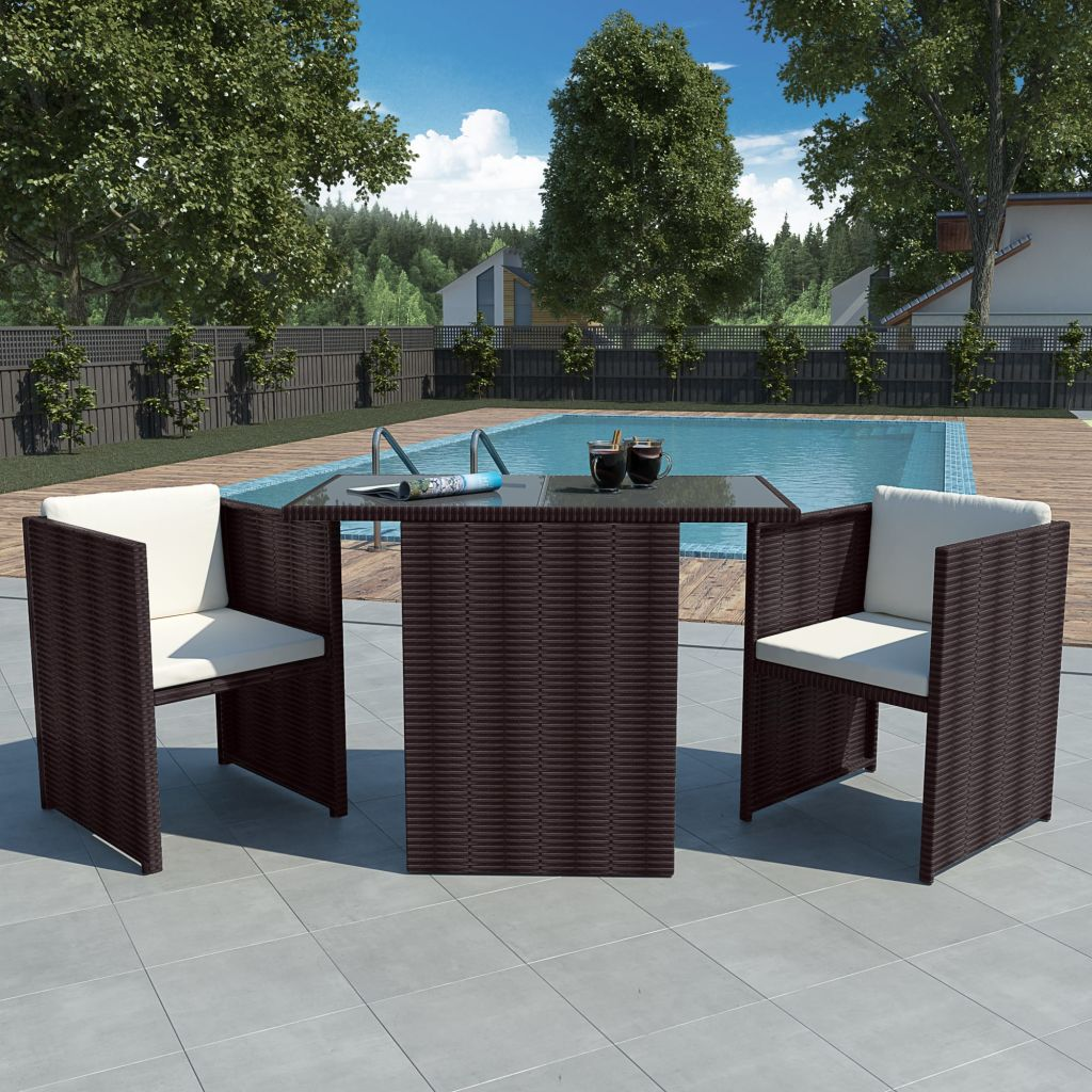 Seven Piece Garden Dining Set Poly Rattan Brown