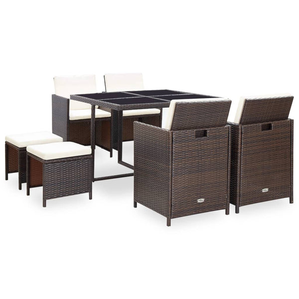 21 Piece Outdoor Dining Set Brown Poly Rattan