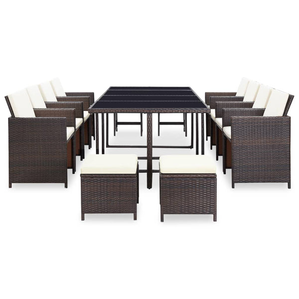 33 Piece Outdoor Dining Set Brown Poly Rattan