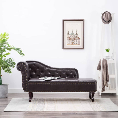Chesterfield Chaise Antique Brown Faux Leather