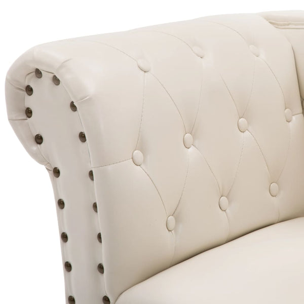 Chesterfield Chaise Off White Faux Leather