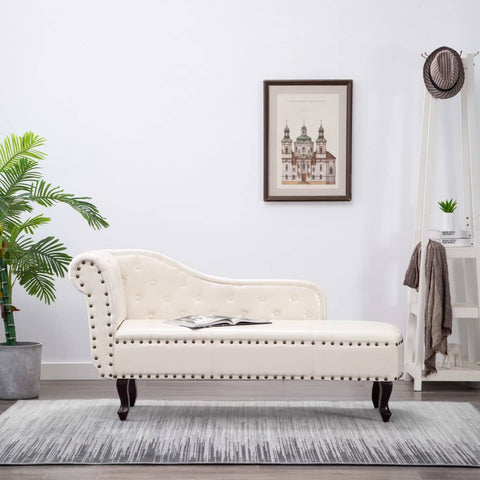 Chesterfield Chaise (Off White Faux Leather) - Free Shipping - Darkhorse Creations