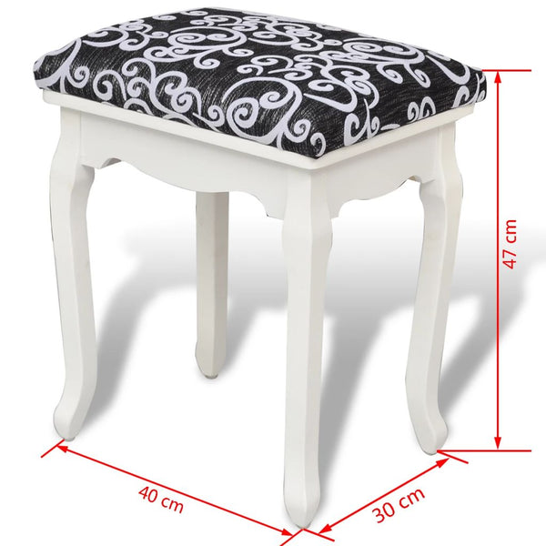 Clara French Bench Seat Small Black and White