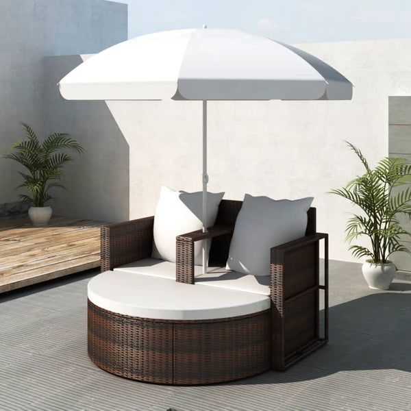 Sunset Outdoor Rattan Lounge Set With Shade Brown