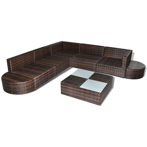 27 pcs Brown Poly Rattan Seat Set Garden Furniture