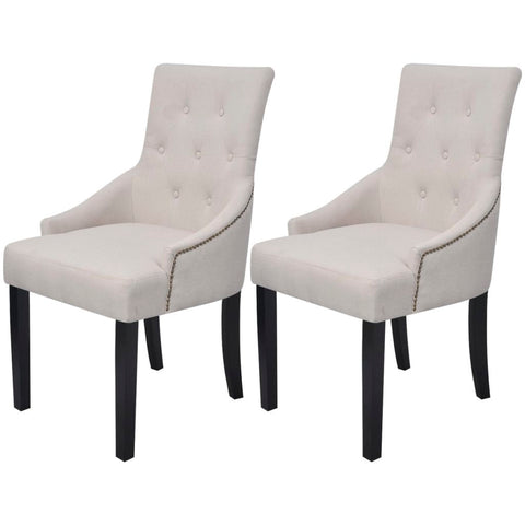 2x Studded French Dining Chair Cream