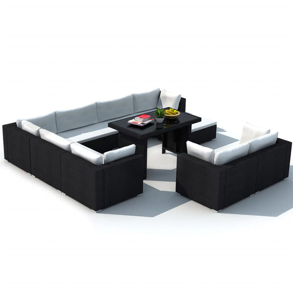 Camden Rattan Lounge with Table  9 Seater Black