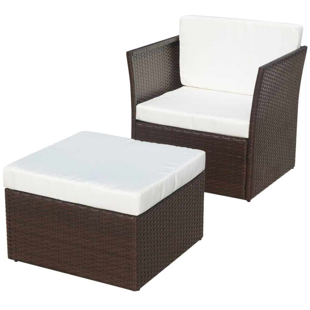 Five Piece Garden Chair Set Poly Rattan Brown
