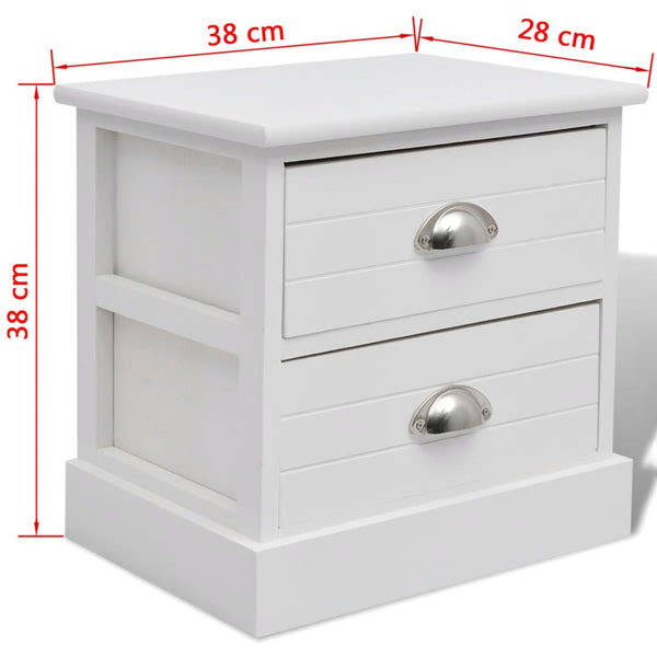 2x French Bedside Cabinets White